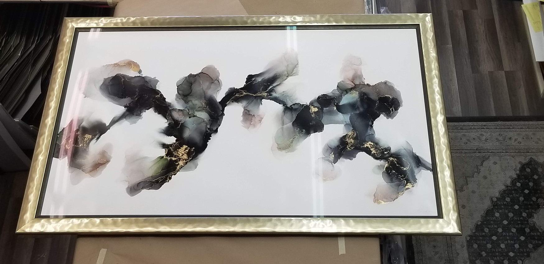 Inks and Gold leaf on Yupo Paper