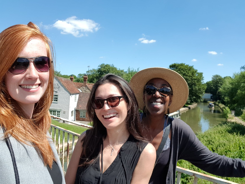 Rachel, Sherrey and Elaine outside The Black Horse Great Linford