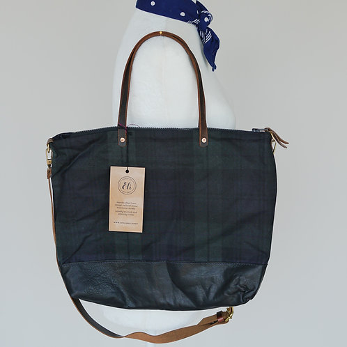 Scottish Waxed Canvas  Goat Leather Tote/Crossbody