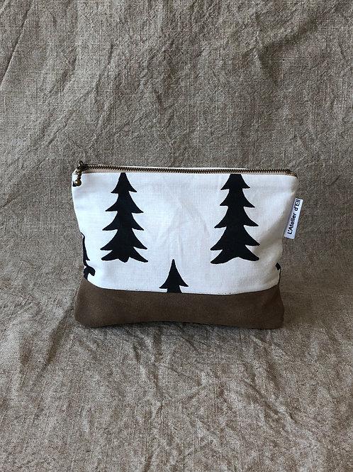 Forest Print Fabric and Suede Pouch