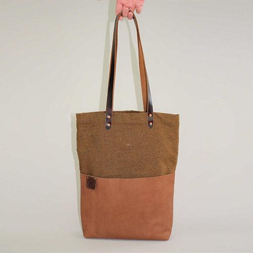 Suzie Mustard Linen Leather Tote
