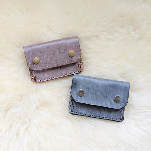 White Wax Ghost Leather Wallet -Small