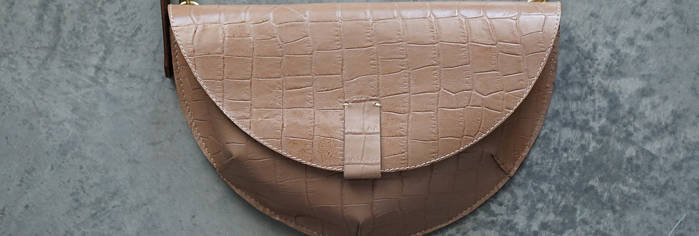 Crocodile Print Half Moon Fanny Pack/ Crossbody Bag