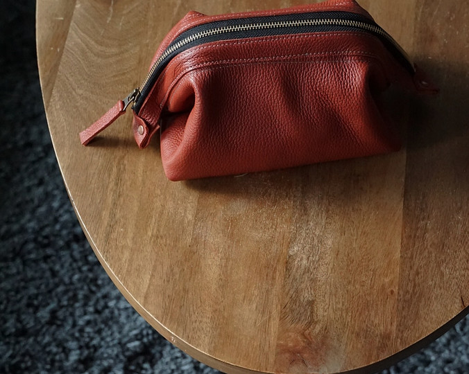 Leather Dopp Kit with Zipper-Clay