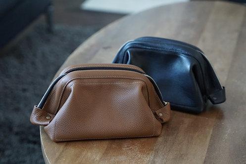 Leather Dopp Kit with Zipper