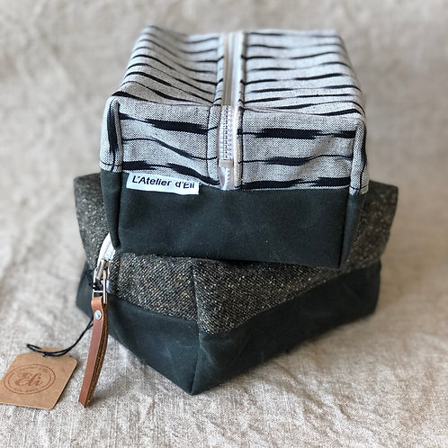 Waxed Canvas / Cotton Pouch with Leather Strap Handle