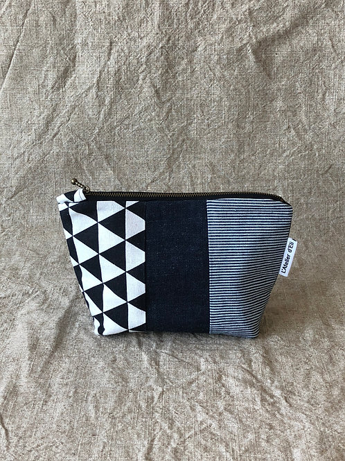 Japanese Boro Inspired Makeup Bag - Jean