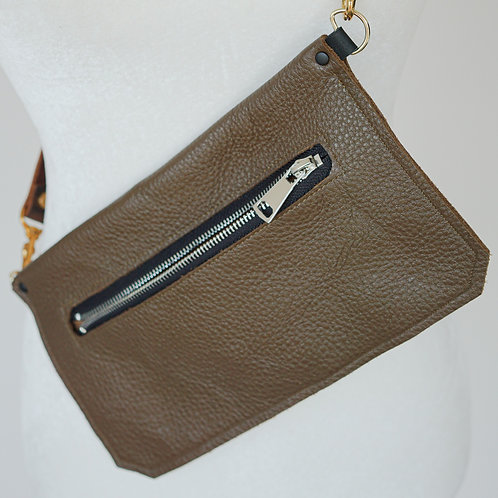 Brown Bison Leather Hip Pouch