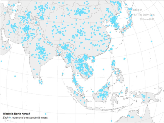 Each dot represents a US adult pointing out the location of North Korea.