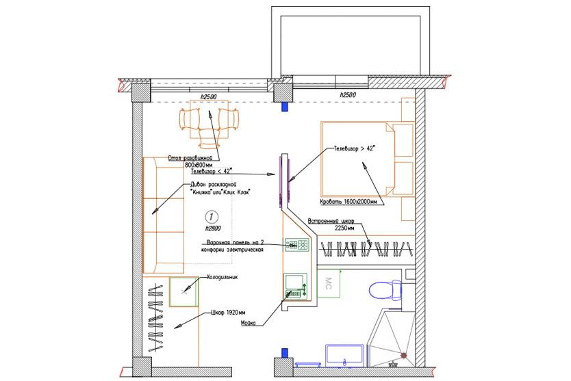 Family One Bed Room Apartment с балконом