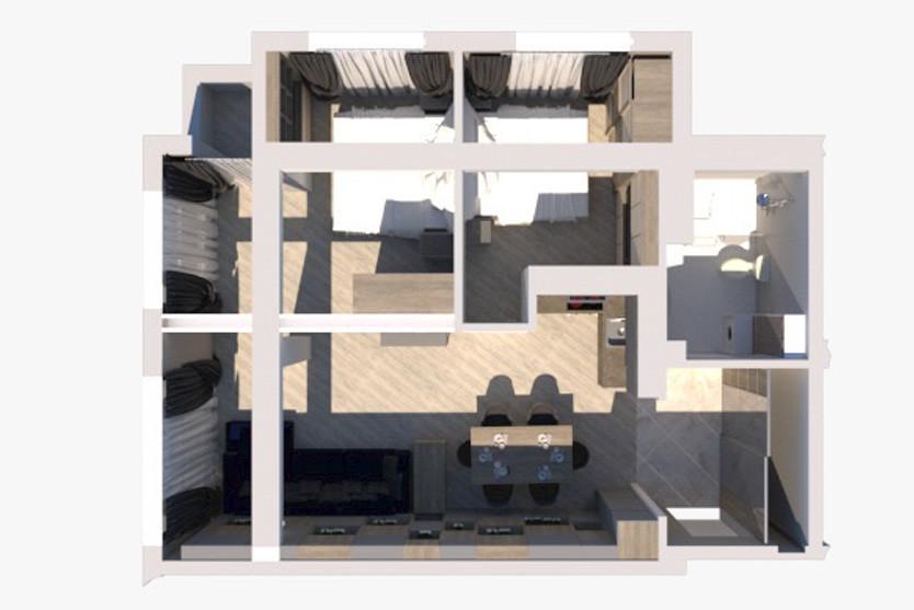 Queen. 2Bed Room Apartment с балконом