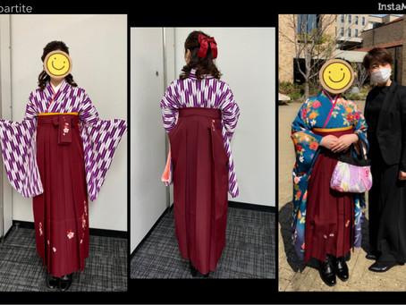 卒業式の袴のお着付けに