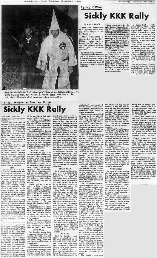 Sickly KKK Rally Newhall Signal-Saugus