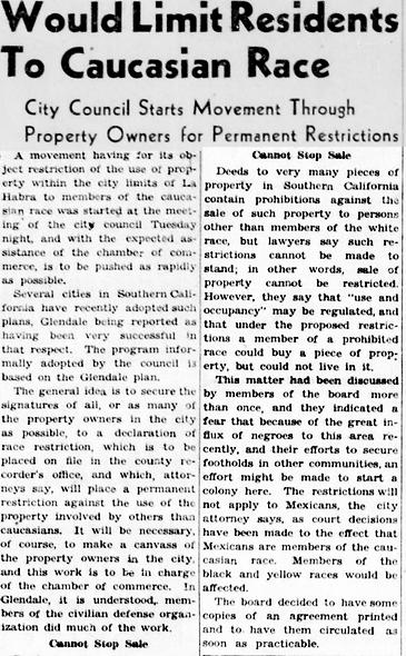 Would limit residents (1944, Dec 22) cop