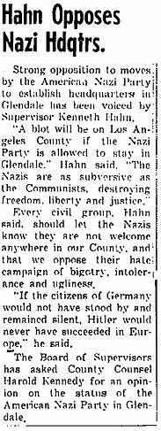 Hahn opposes Nazi hdqtrs. (1964, Dec 17)
