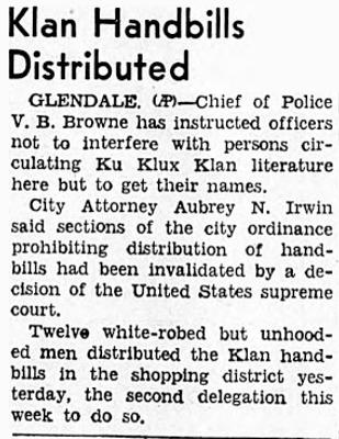Klan Handbills Distributed, 1939
