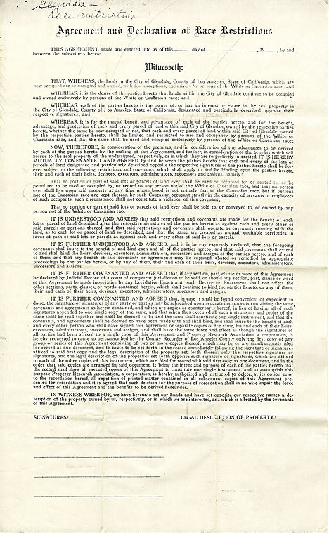 Agreement and Declaration of Race Restri