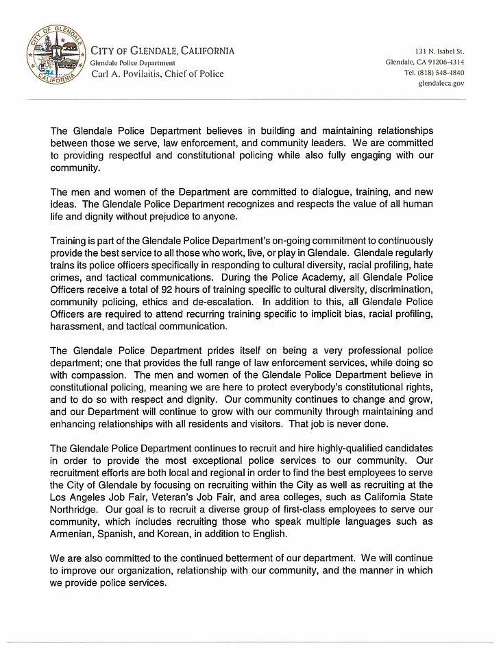 GLENDALE Police Department letter_03-05-