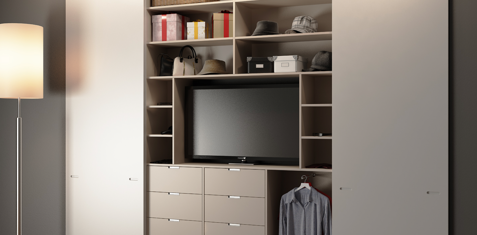 Built in sliding wardrobe with TV housin