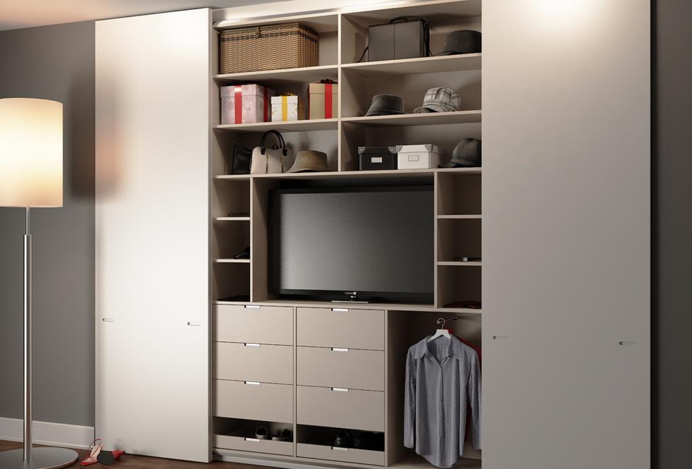 Built in sliding wardrobe with TV housin