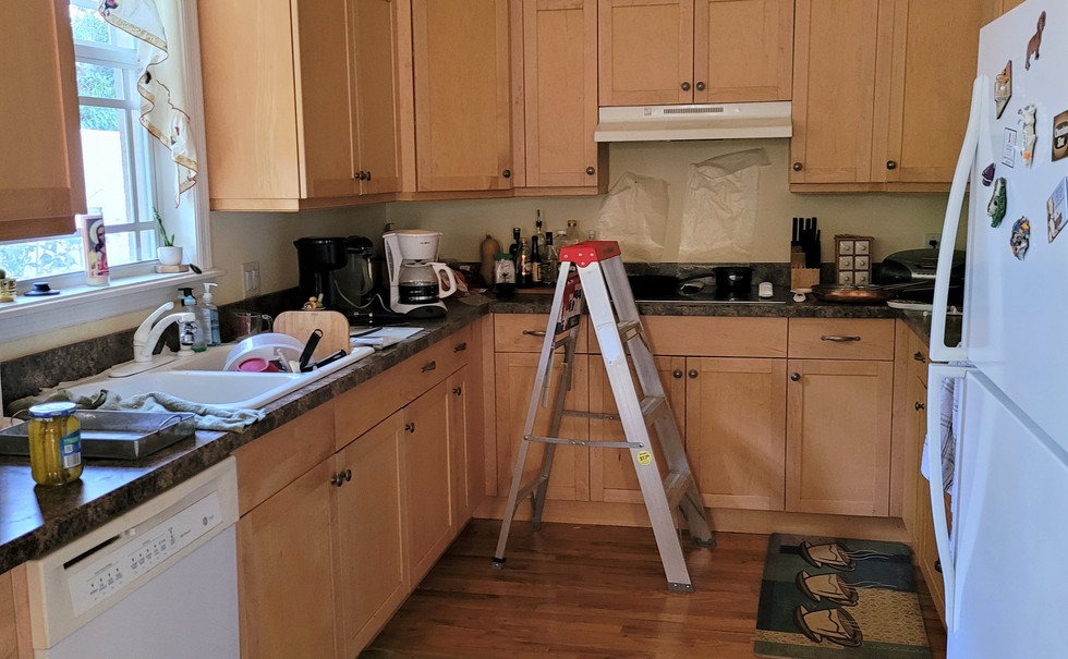 Kitchen before painting, and staging