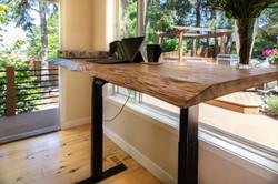 Reclaimed wood lift desk