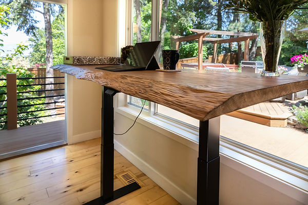 Customized live edge lift desk or sit stand desk.  Movable spaces sells the X2-LK lit desk kit so people can customize and build their dream desk.