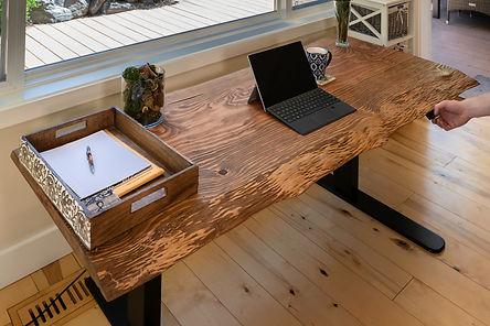 Custom live edge lift desk with the X2-LK lift desk kit by Movable Spaces