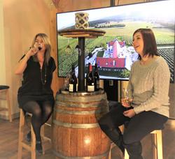 Kayley and Sheri Wine Barrel
