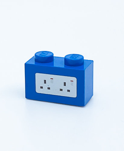240v Electrical Socket UK (blue) - printed brick