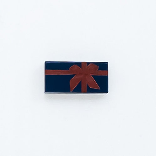 Present with bow (dark blue) - printed tile