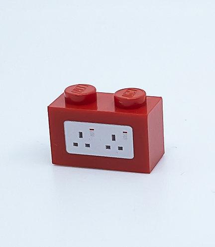 240v Electrical Socket UK (red) - printed brick