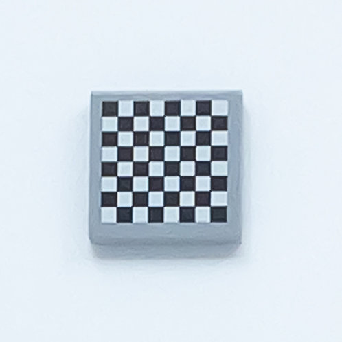 Chess board (light bluish grey) - printed tile