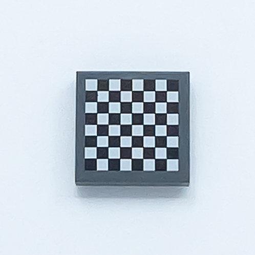 Chess board (dark bluish grey) - printed tile