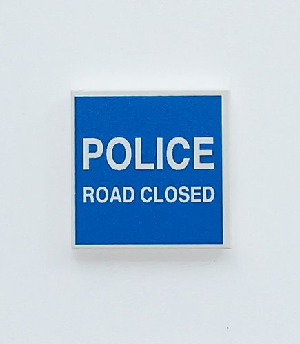 POLICE ROAD CLOSED sign tile 2x2 - printed tile
