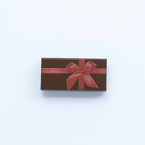 Present with bow (reddish brown) - printed tile