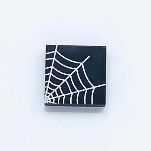 Spider web corner (black) - printed tile