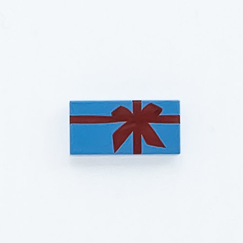 Present with bow (medium blue) - printed tile