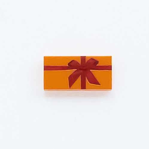 Present with bow (orange) - printed tile