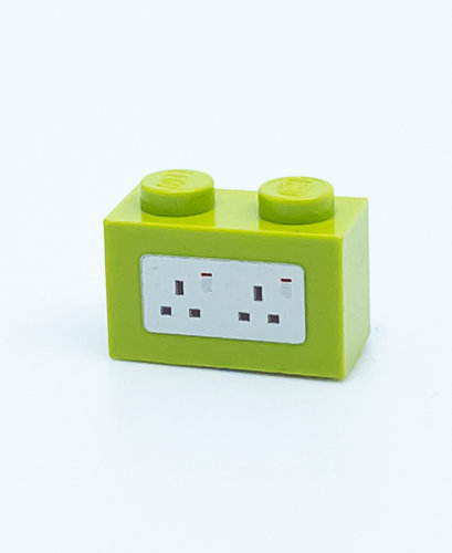 240v Electrical Socket UK (lime) - printed brick