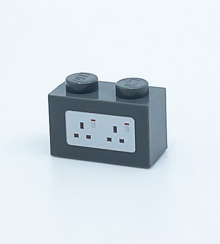 240v Electrical Socket UK (dark bluish grey) - printed brick