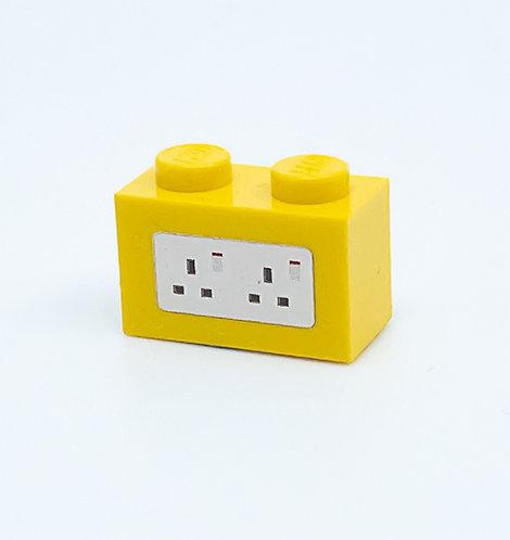 240v Electrical Socket UK (yellow) - printed brick