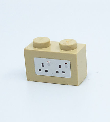 240v Electrical Socket UK (tan) - printed brick
