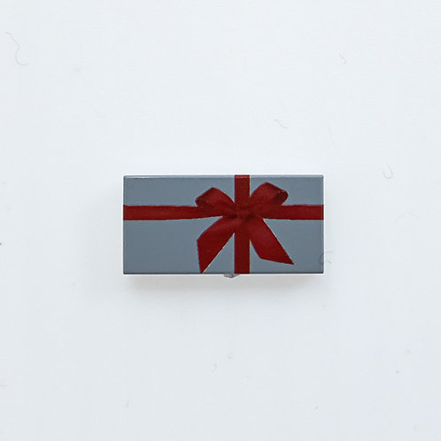 Present with bow (light bluish grey) - printed tile