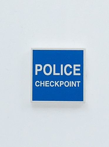 POLICE CHECKPOINT sign tile 2x2 - printed tile