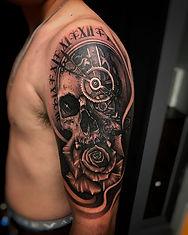 skull, rose, clock morph