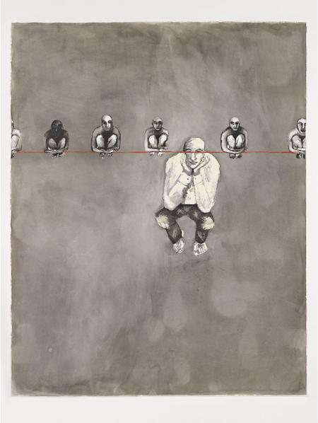 Le fil rouge. 2006. Encre sur papier. 113 x 143 cm © Khaled Takreti Exposition Artiste galerie d'art contemporain Lyon Croix-Rousse Regard Sud
