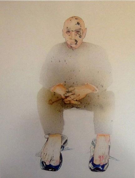 Les grands enfants 4. 2006 Aquarelle et gouache, 52x67 cm © Khaled Takreti Exposition Artiste galerie d'art contemporain Lyon Croix-Rousse Regard Sud