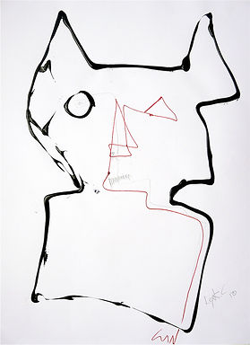 Le chat. 2010. Technique mixte sur papier. 65x50cm ©Lahcen Khedim Exposition Artiste galerie d'art contemporain Lyon Croix-Rousse Regard Sud