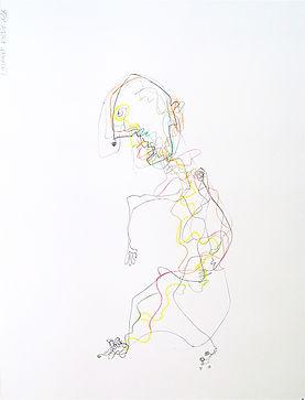 Le solitaire. 2016. Technique mixte sur papier. 65x50cm ©Lahcen Khedim Exposition Artiste galerie d'art contemporain Lyon Croix-Rousse Regard Sud